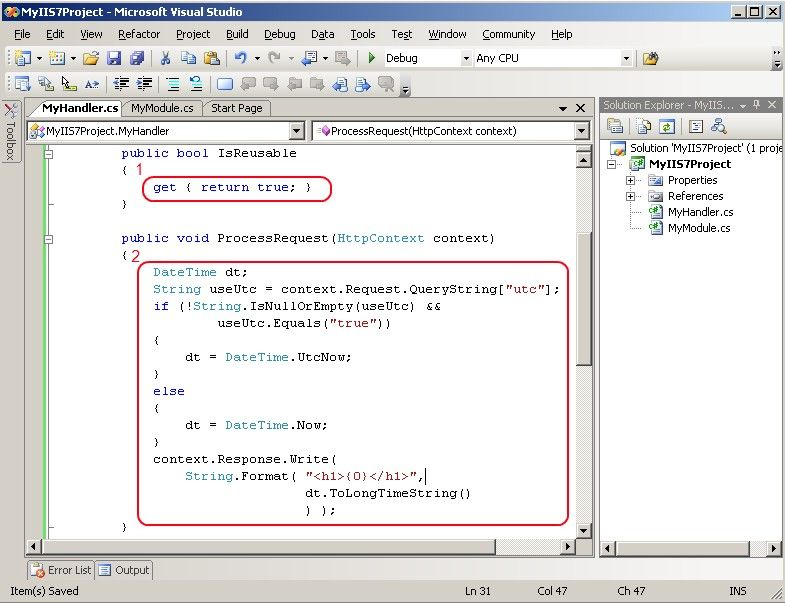 Implement IHttpHandler.ProcessRequest in Visual Studio