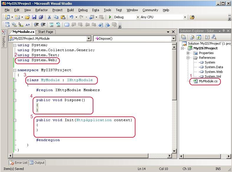 A simple IHttpModule class in Visual Studio