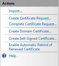 Server Certificates Actions Pane